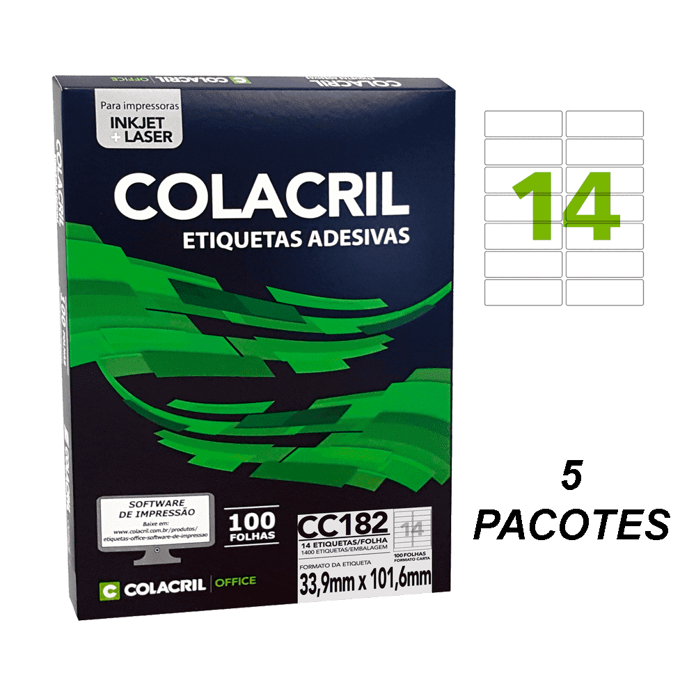 Etiqueta Carta 33,9mm x 101,6mm 500 folhas CC182 Colacril