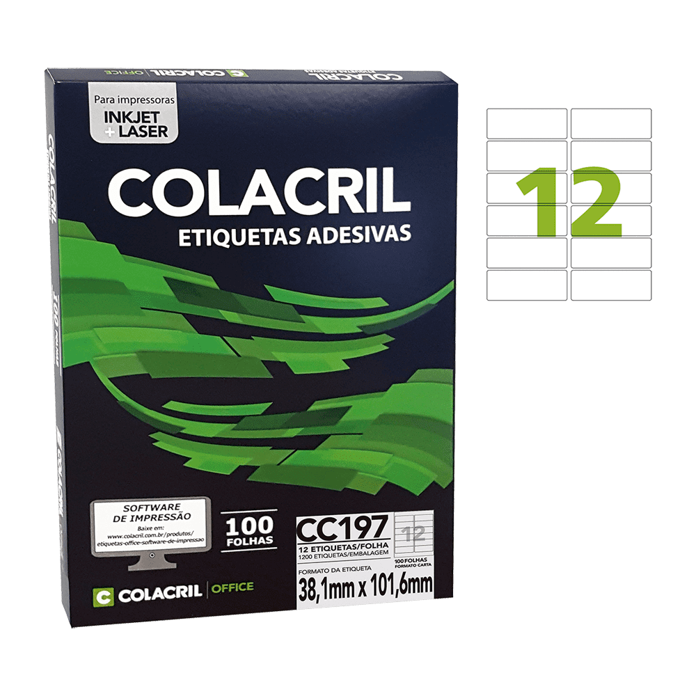 Etiqueta Carta 38,1mm x 101,6mm 100 folhas CC197 Colacril