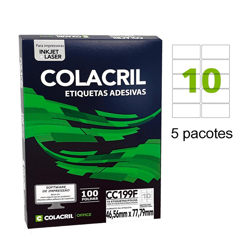 Etiqueta Carta 46,56 x 77,79mm 500 folhas CC199F Colacril