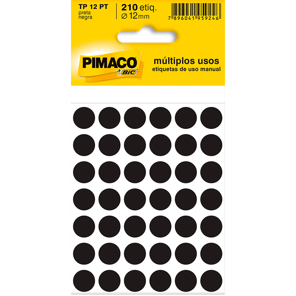 Etiqueta Multiuso Ø 12 mm 5 Folhas TP12 Preto Pimaco