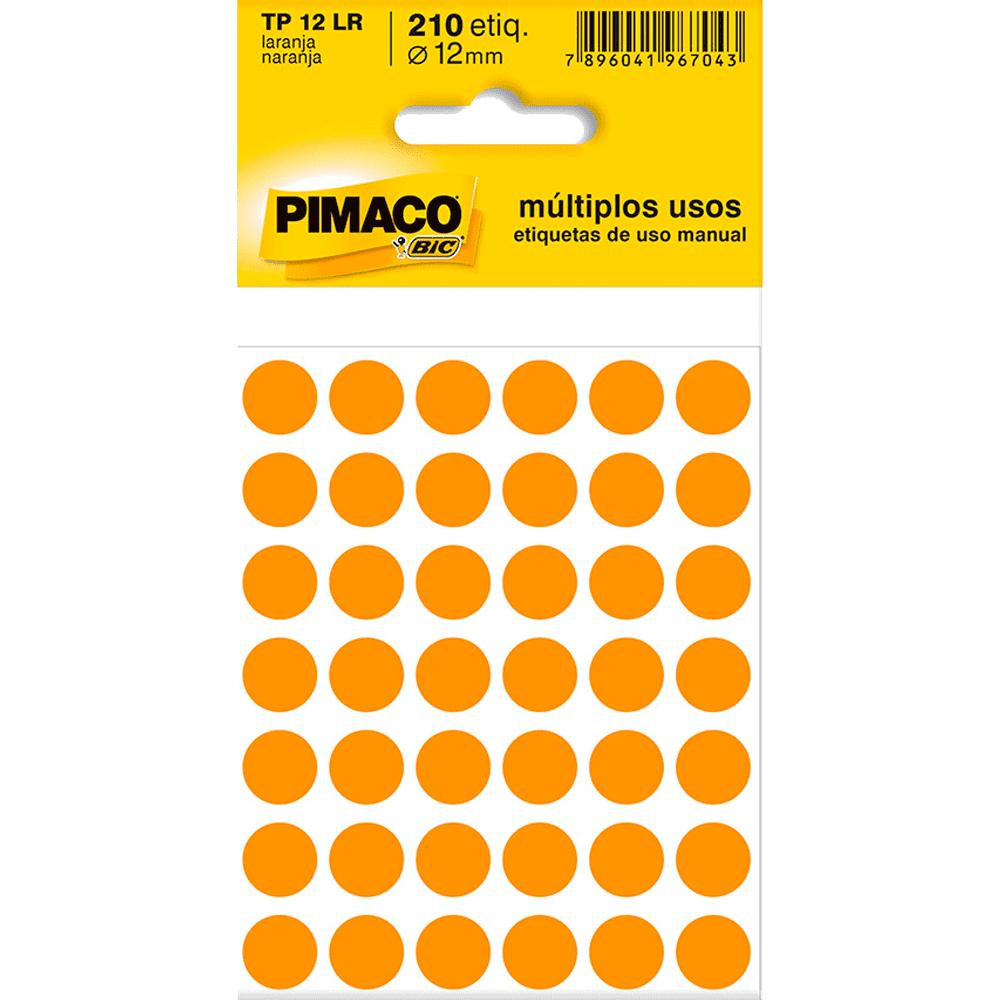 Etiqueta Multiuso Ø 12 mm 5 Folhas TP 12 Laranja Pimaco