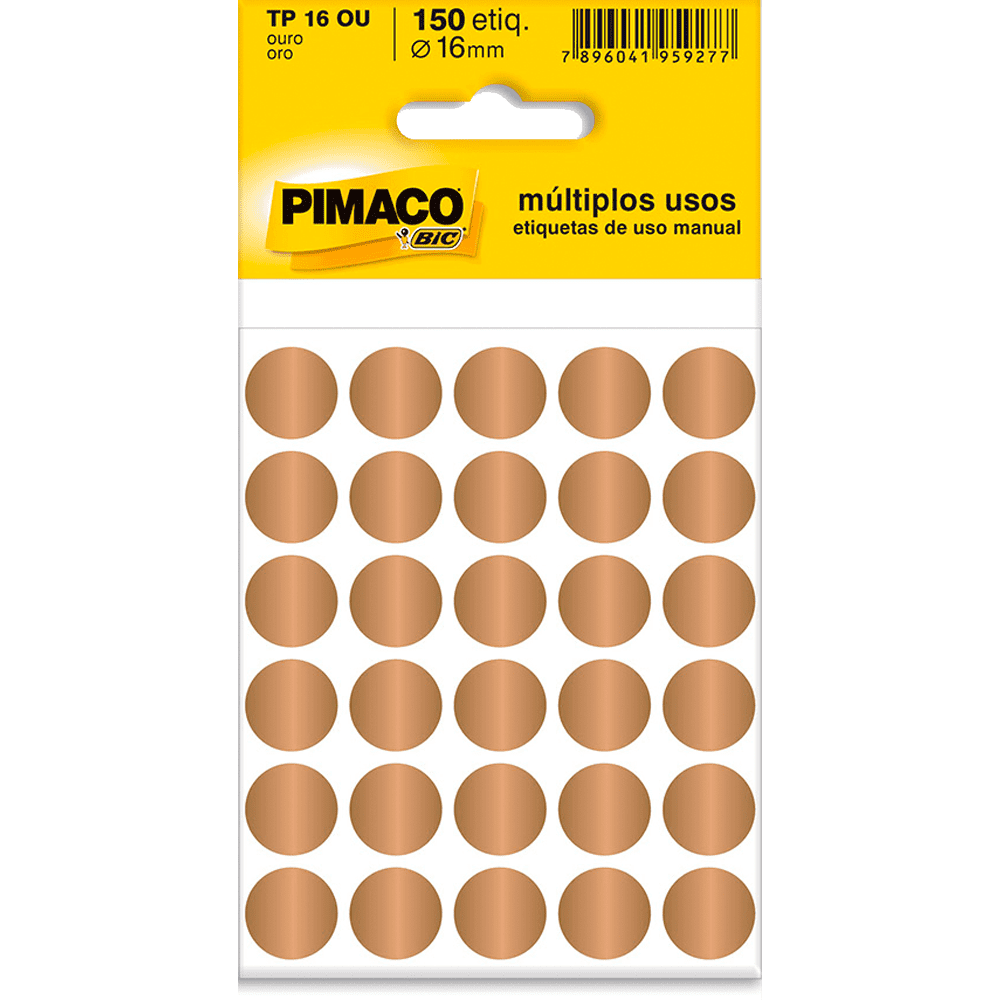 Etiqueta Multiuso Ø 16mm 5 Folhas TP16 Ouro Pimaco