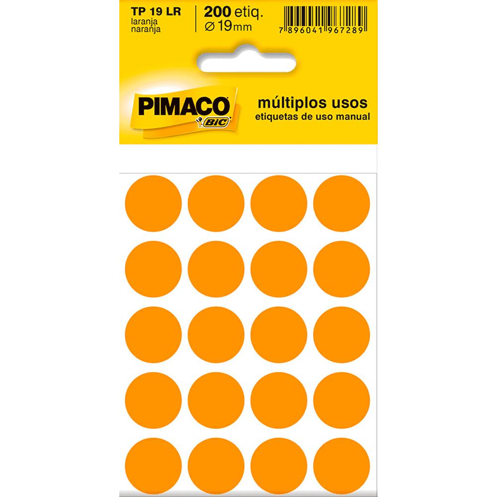 Etiqueta Multiuso Ø 19 mm 10 Folhas TP19 Laranja Pimaco