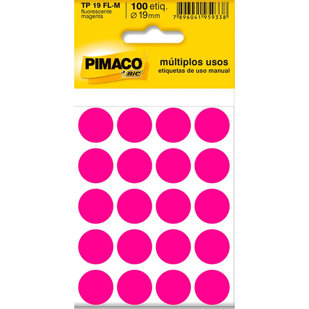 Etiqueta Multiuso Ø 19 mm 5 Folhas TP19 Magenta Fluorescente Pimaco
