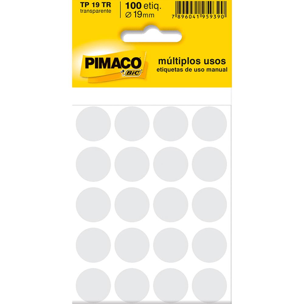 Etiqueta Multiuso Ø 19 mm 5 Folhas TP19 Transparente Pimaco