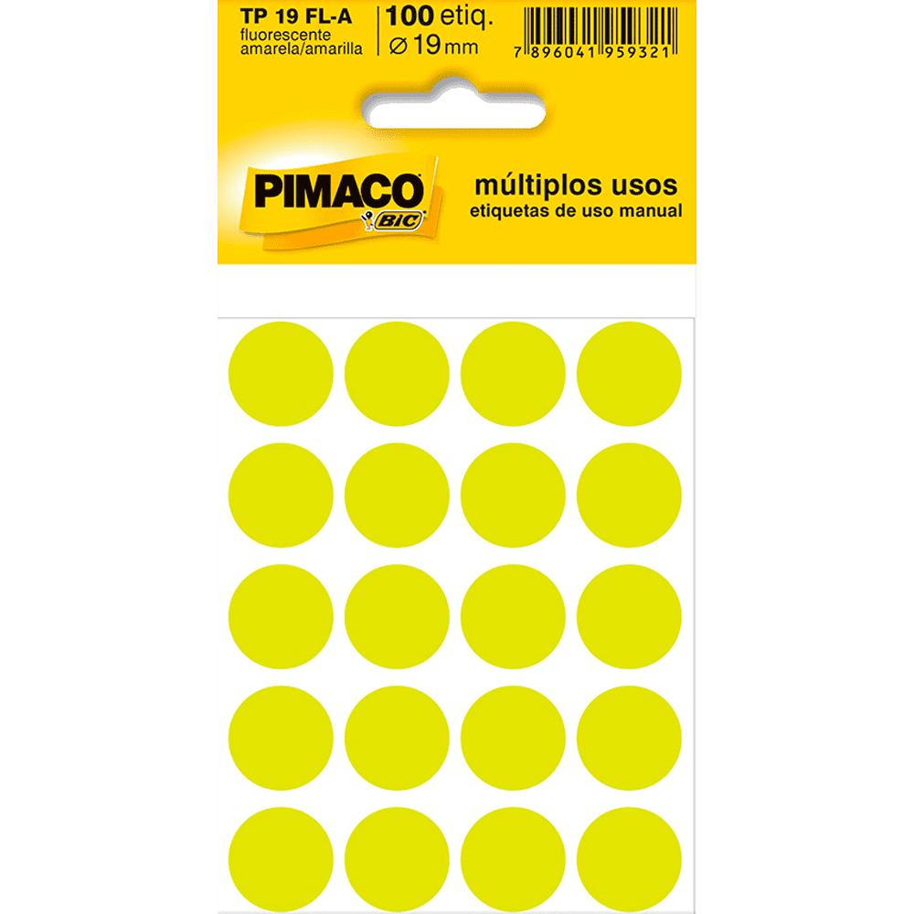 Etiqueta Multiuso Ø 19 mm 5 Folhas TP 19 Amarelo Fluorescente Pimaco