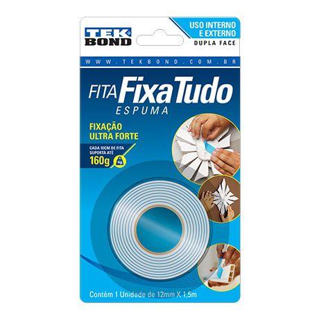 Fita Dupla Face Espuma Fixa Tudo Int/Ext 12mm x 1,5m TekBond