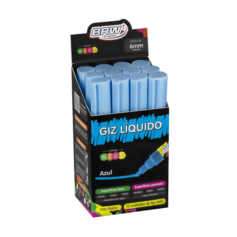 Giz Líquido Azul 4g 6mm 12 Unidades BRW