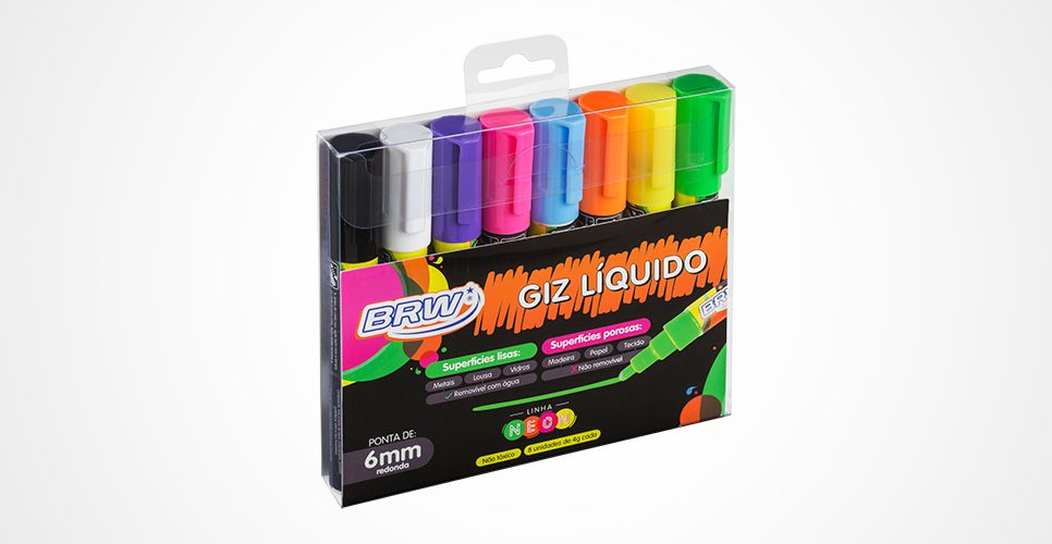 Giz Liquido NEON 6mm Estojo com 8 Cores BRW