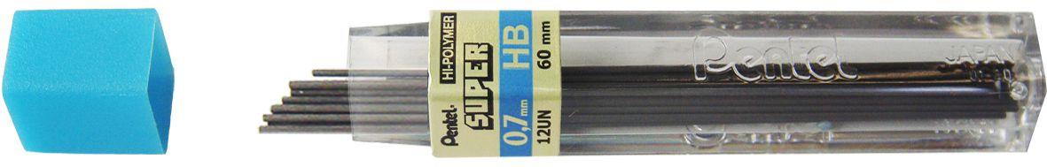 Estojo com 12 Tubos Grafite Pentel 0.7 HB 12 Minas