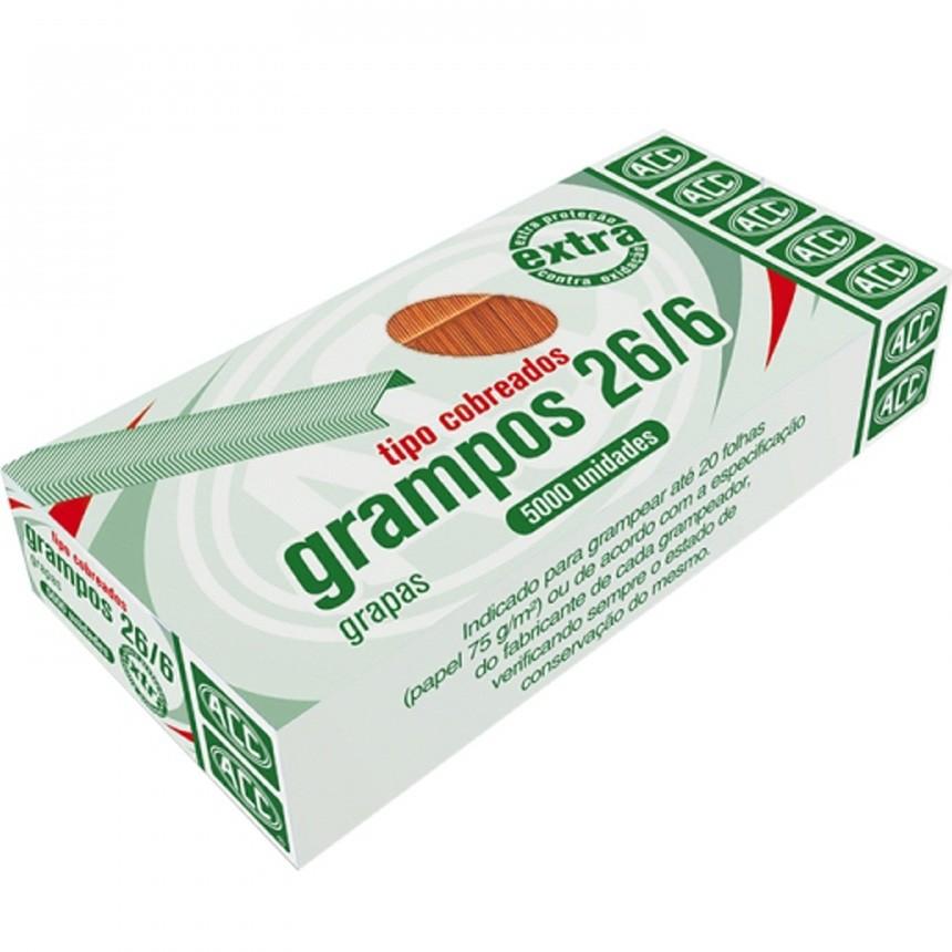 Grampo 26/6 Cobreado Extra 5000 unidades Acc
