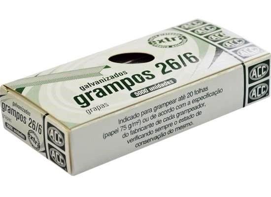 Grampo 26/6 Galvanizado Extra 5000 unidades Acc