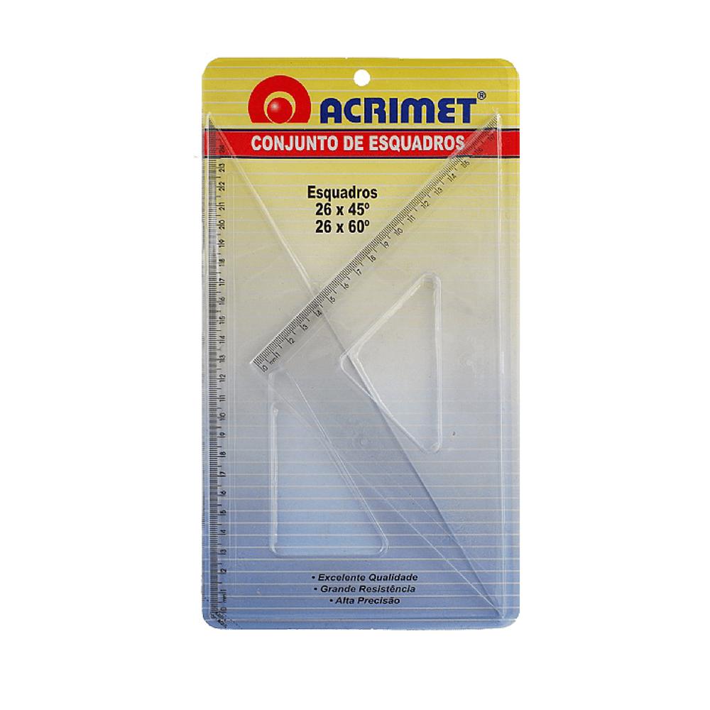 Kit de Esquadros para Desenho 45º e 60º 26CM Acrimet