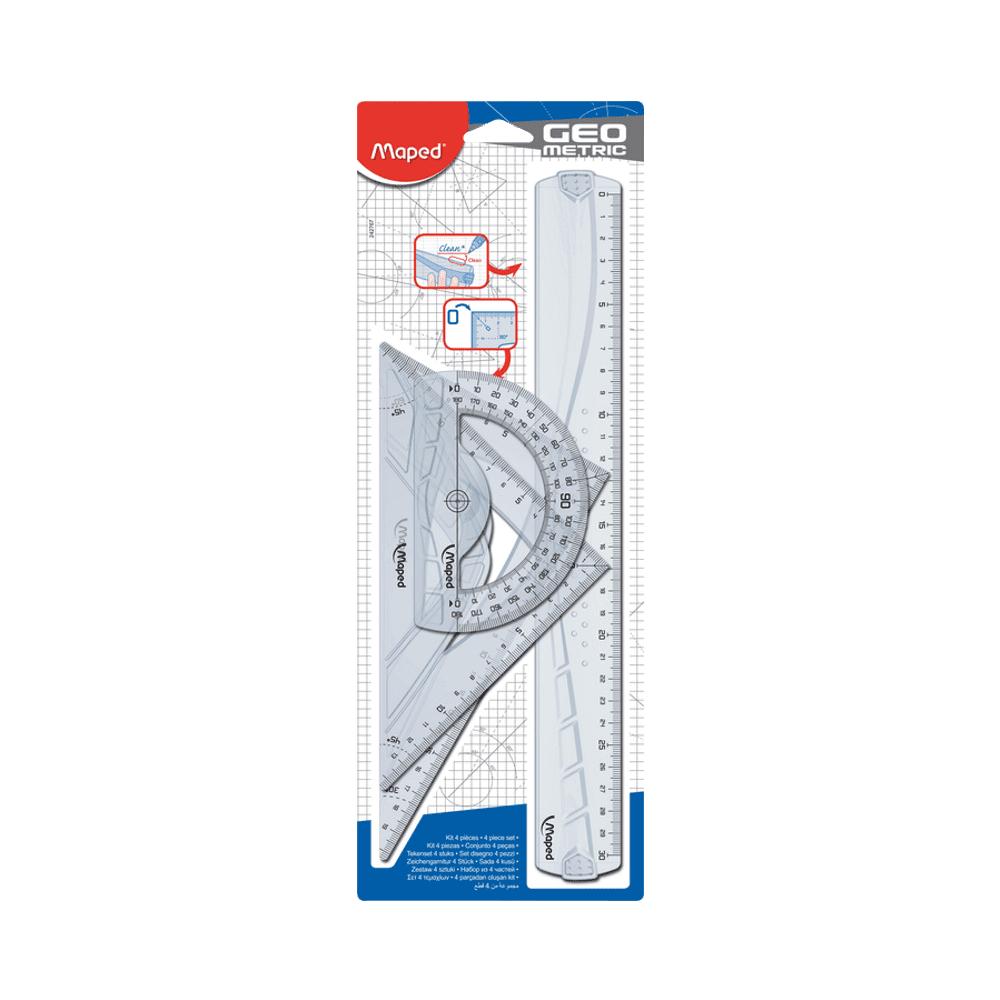 Kit Régua + Transferidor + 2 Esquadros Geometric Maped