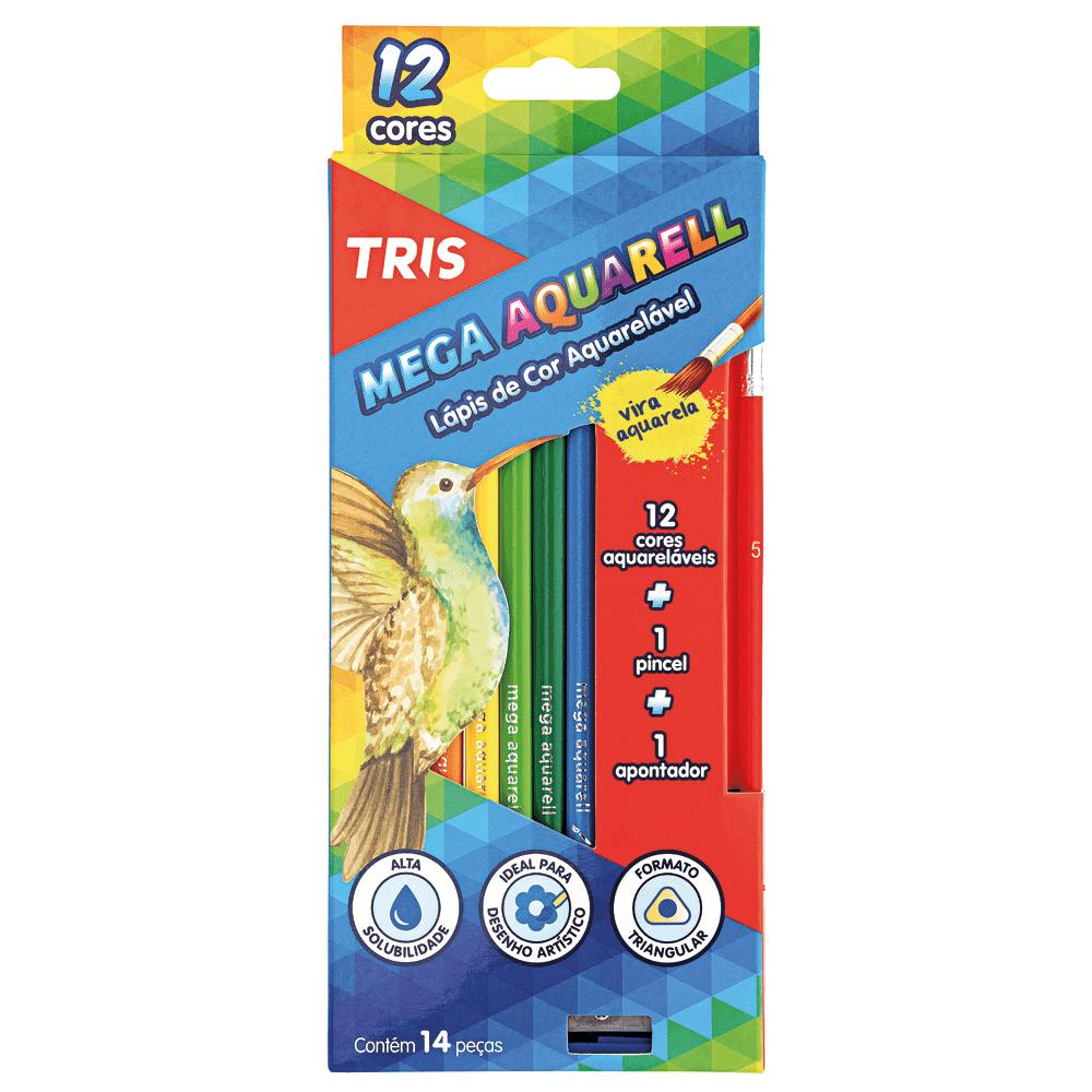 Lápis Cor Aquarelável 12 Cores + Apontador + Pincel Mega Aquarell Tris