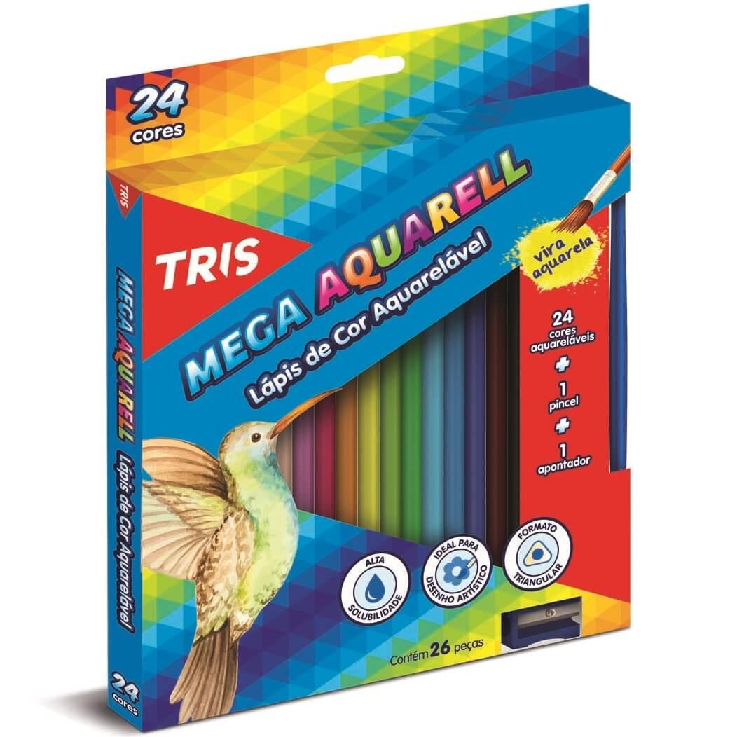 Lápis Cor Aquarelável 24 Cores + Apontador + Pincel Mega Aquarell Tris