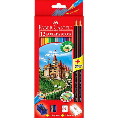 Lápis de Cor 12 Cores Ecolápis + 2 Ecolápis Grafite + Apontador + Borracha