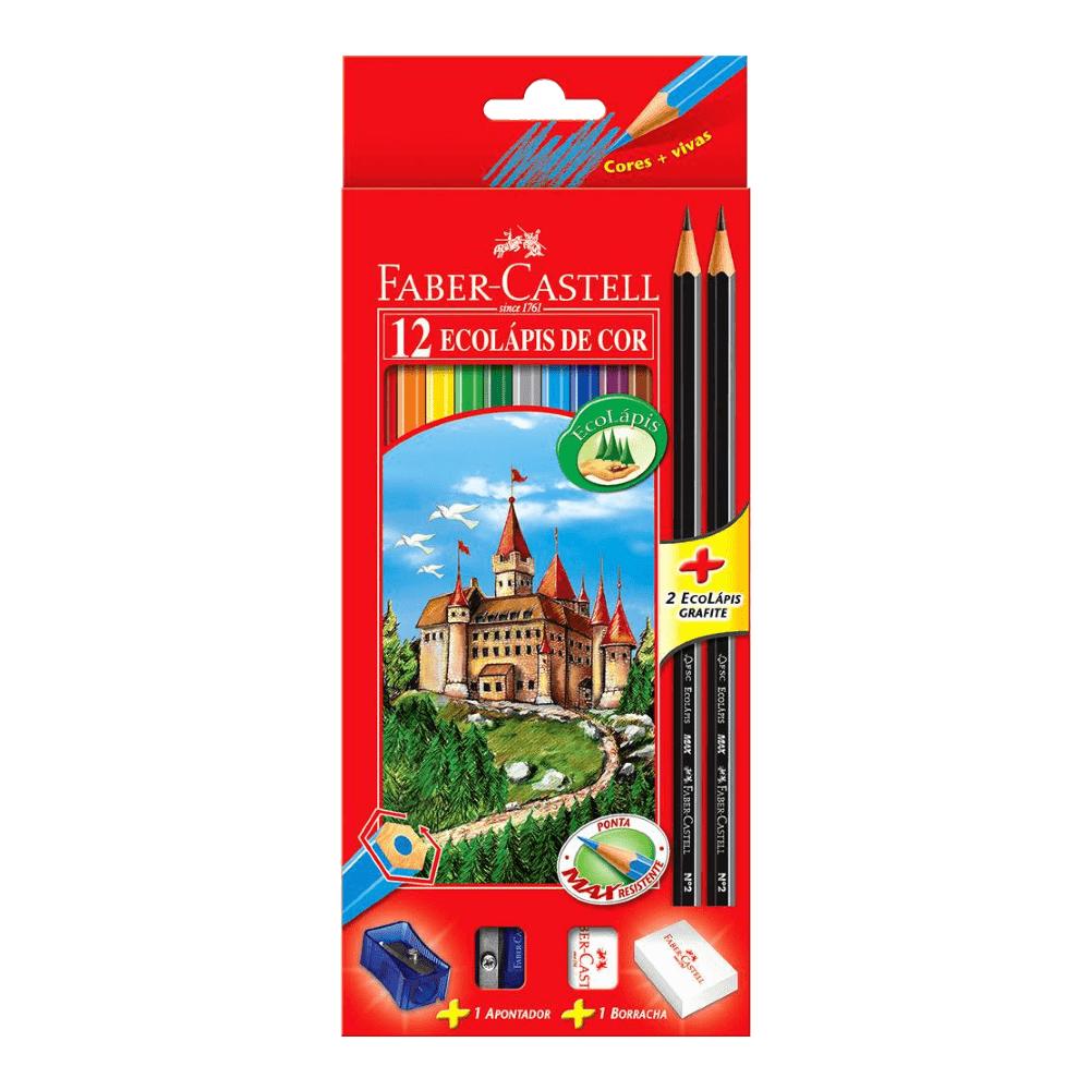 Lápis de Cor 12 Cores Ecolápis + 2 Ecolápis Grafite + Apontador + Borracha Faber Castell