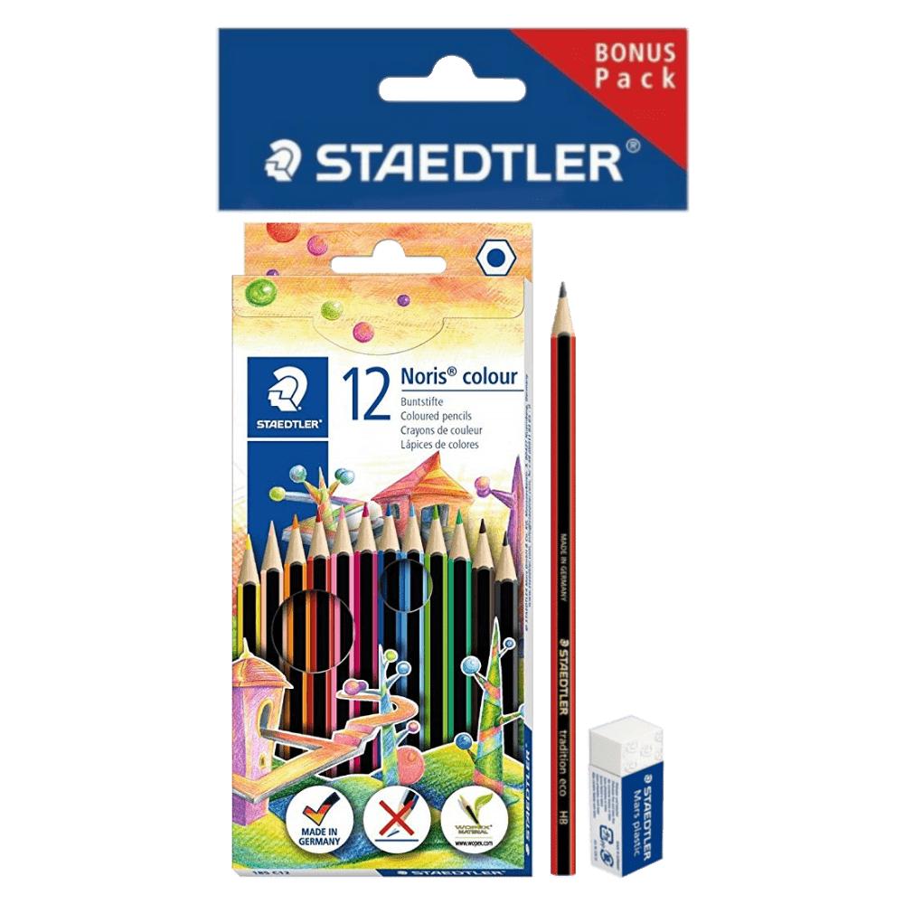Lápis de Cor 12 Cores Noris Colour + Lápis e Borracha Staedtler