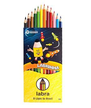 Lápis de Cor 12 Cores Redondo Labrinha 12 unidades