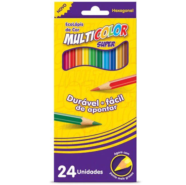 Lápis de Cor 24 cores Ecolápis Sextavado Multicolor
