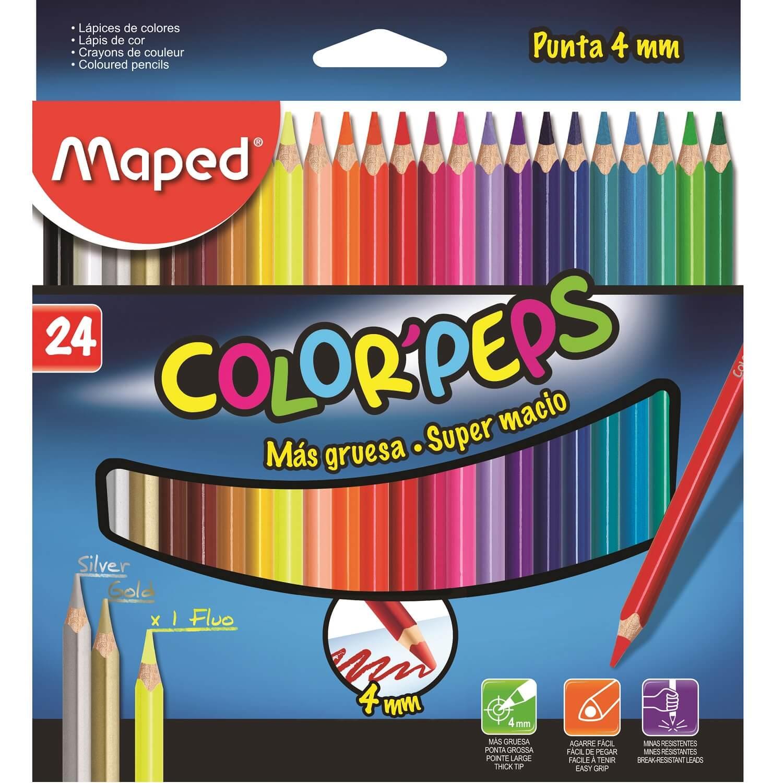 Lápis de Cor Color'Peps 4mm Super Macio 24 Cores Maped