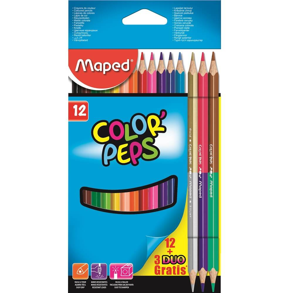 Lápis de Cor Color'Peps Classic 12 Cores + 3 Lápis Duo 6 Cores Maped