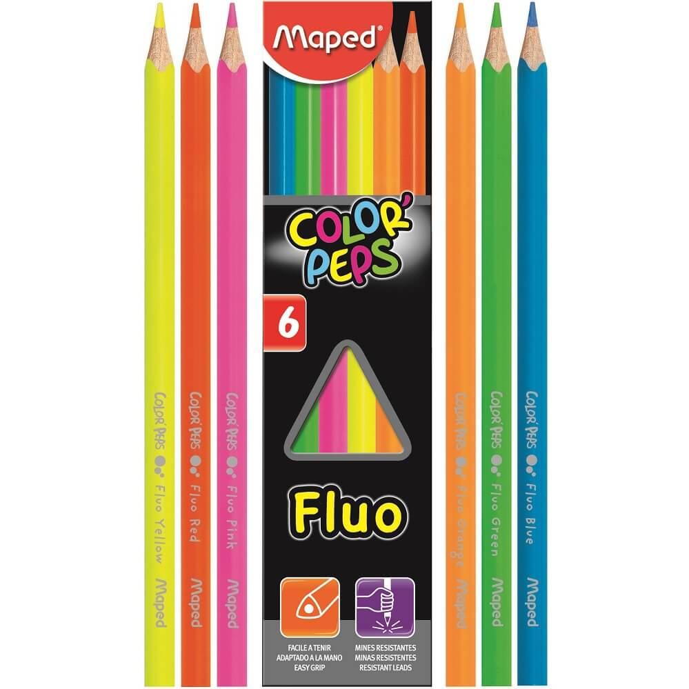 Lápis de Cor Color'Peps Fluo 6 Cores Fluorescentes Maped