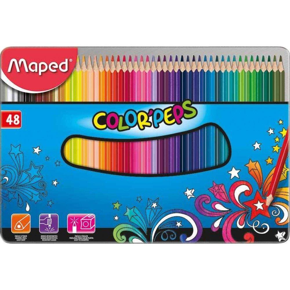 Lápis de Cor Color'Peps Triangular Box Metal 48 Cores Maped