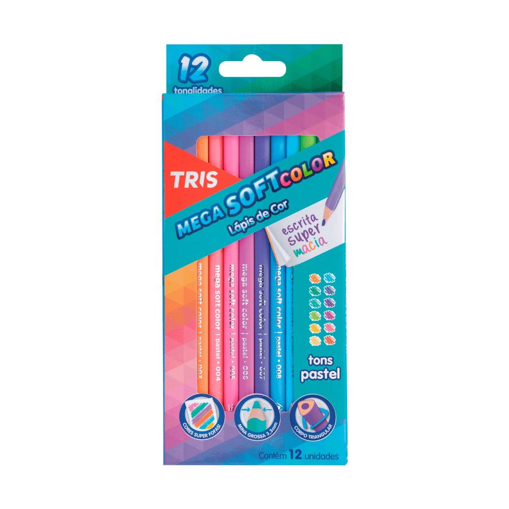 Lápis de Cor Mega Soft Color 12 Cores Tons Pastel Tris