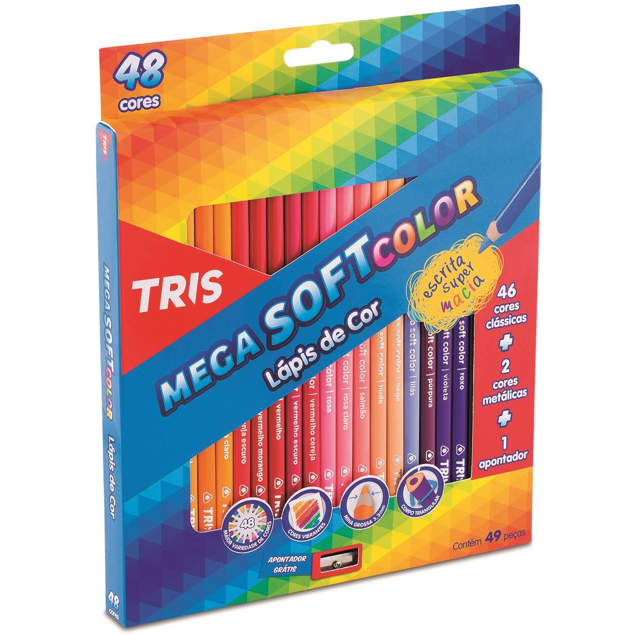 Lápis de Cor Mega Soft Color 48 Cores + Apontador Tris