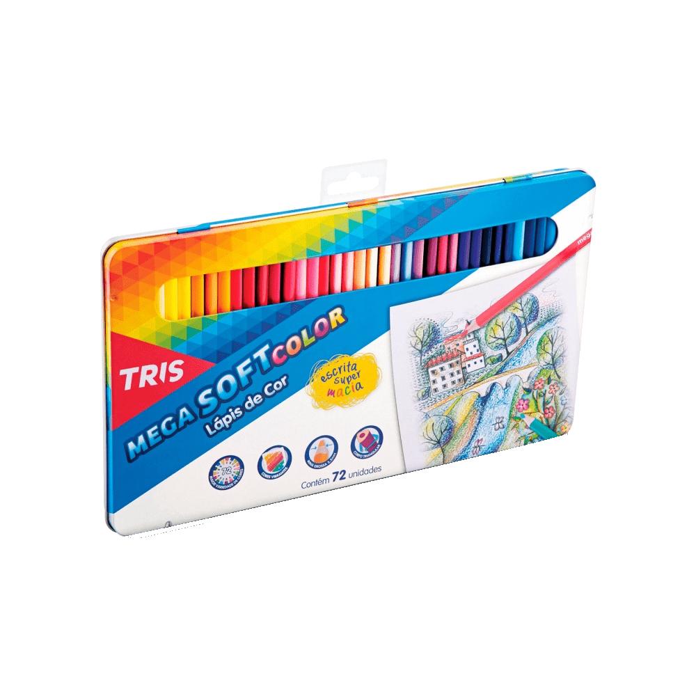 Lápis de Cor Mega Soft Color 72 Cores Estojo Metálico Tris