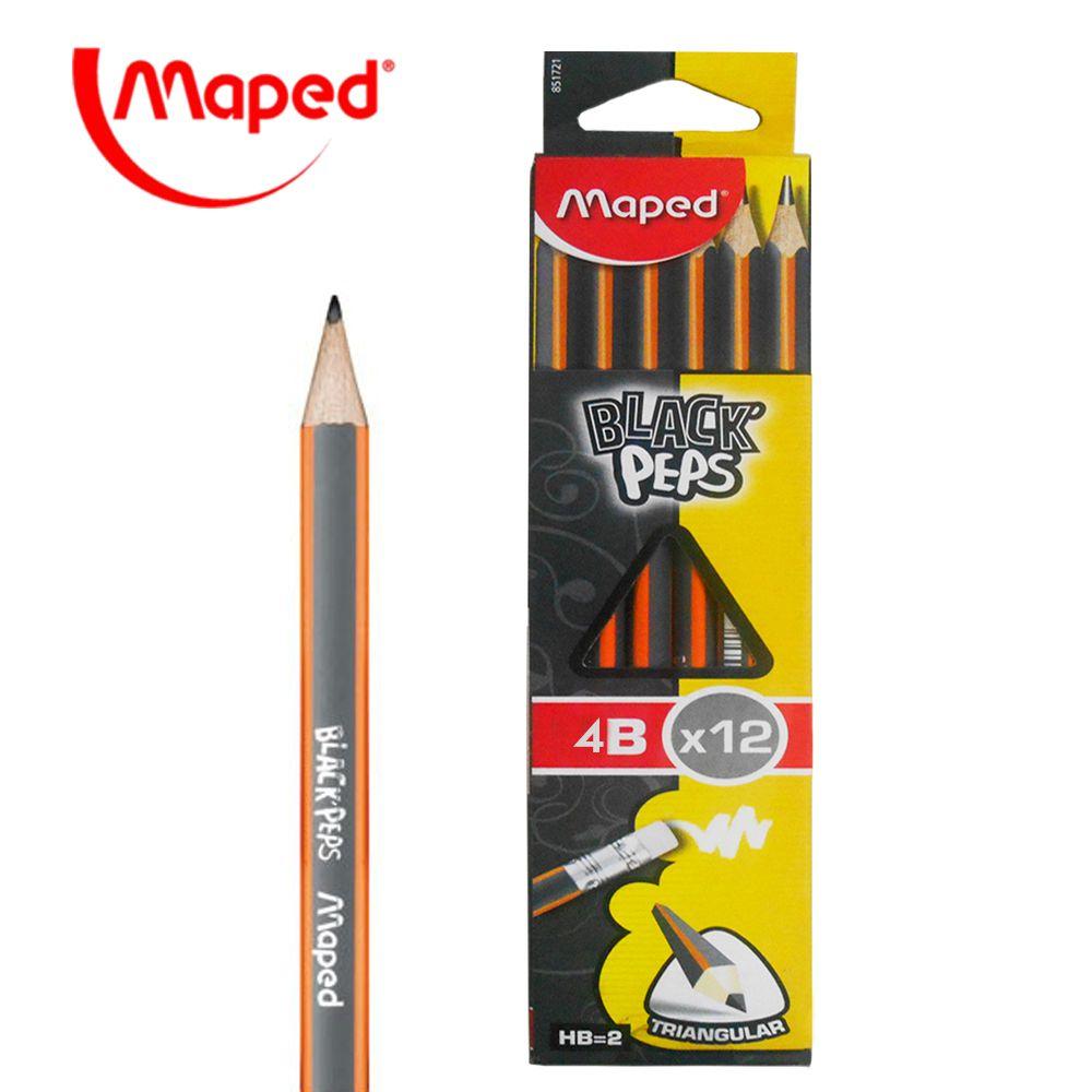 Lápis Grafite 4B Black'Peps Maped 12 unidades