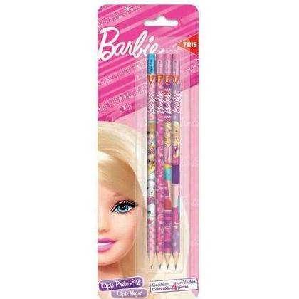 Lápis Grafite HB Nº2 com Borracha Barbie 4 unidades Tris