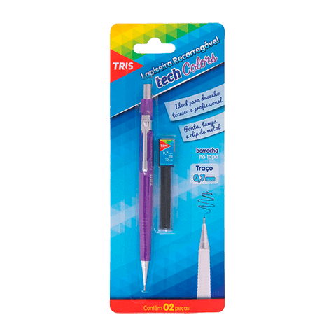 Lapiseira 0.7mm com Grafite Tech Colors Tris