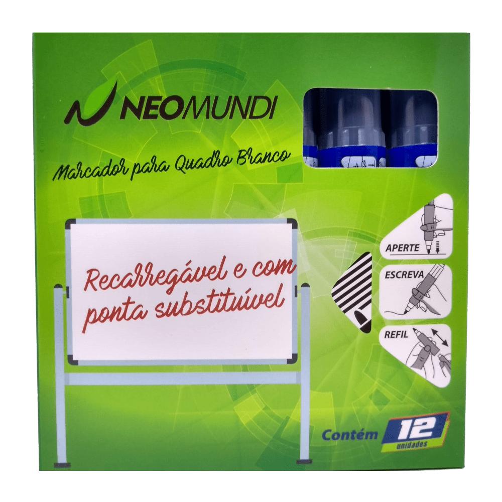 Marcador para Quadro Branco Recarregável Azul NeoMundi com 12 Unidades