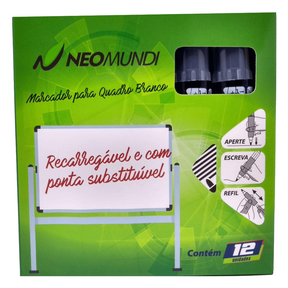 Marcador para Quadro Branco Recarregável Preto NeoMundi com 12 Unidades