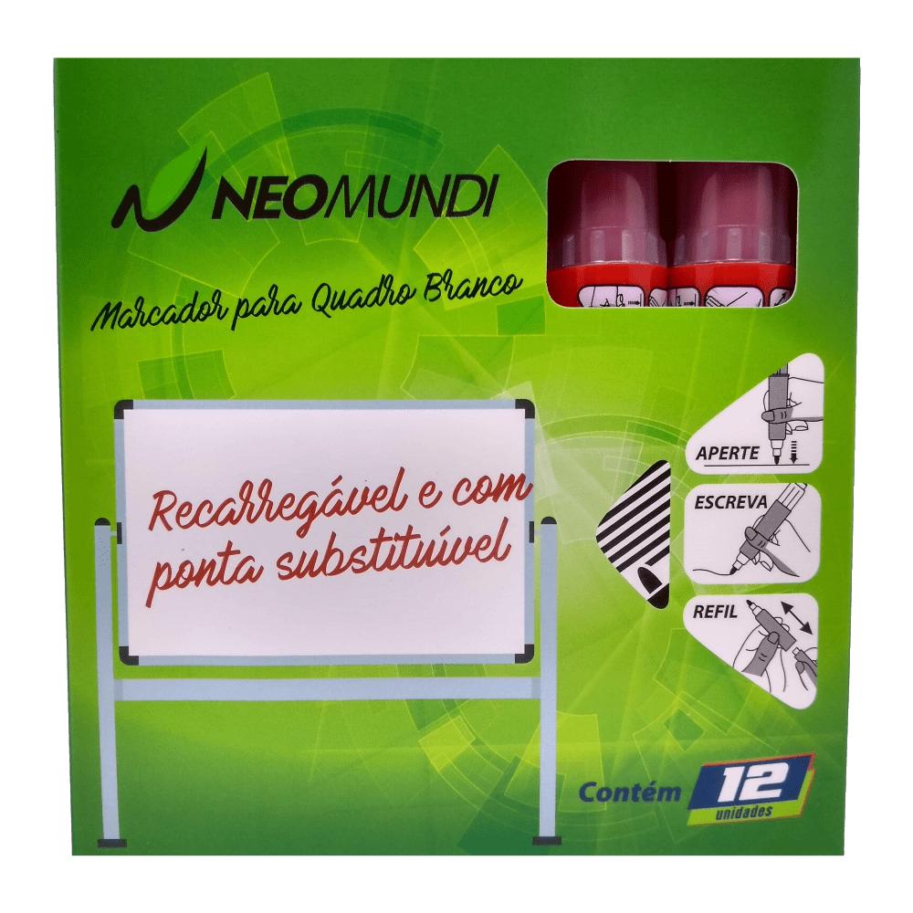 Marcador para Quadro Branco Recarregável Vermelho NeoMundi com 12 Unidades