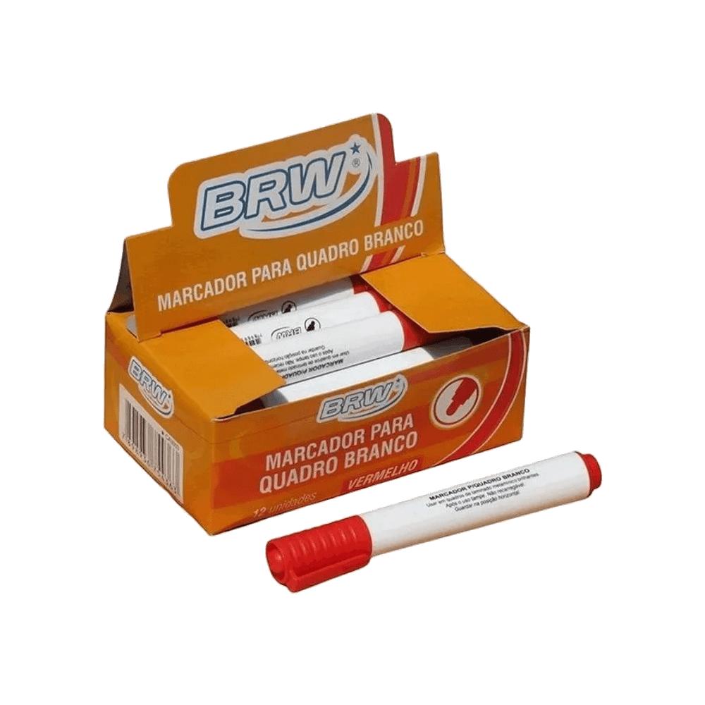 Marcador para Quadro Branco Vermelho 12 Unidades BRW