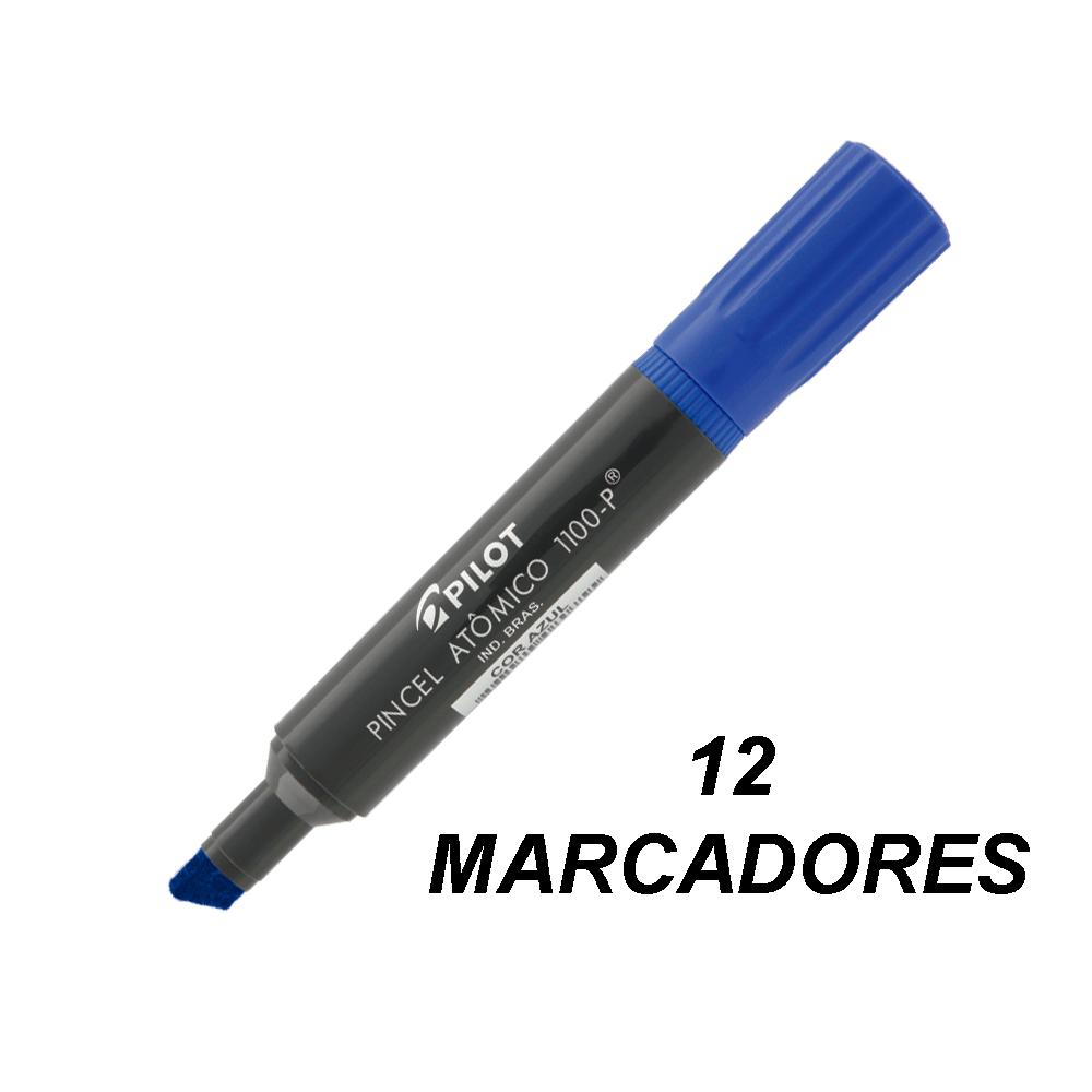 Marcador Permanente Ponta Chanfrada Pincel Atômico 1100-P Azul 12 und Pilot