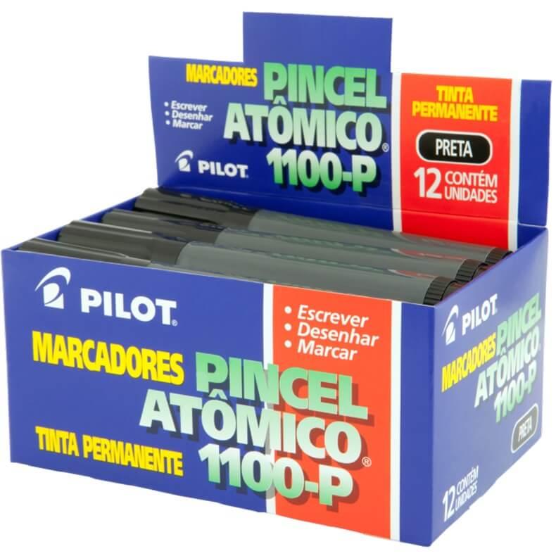 Marcador Permanente Ponta Chanfrada Pincel Atômico 1100-P Preto Pilot