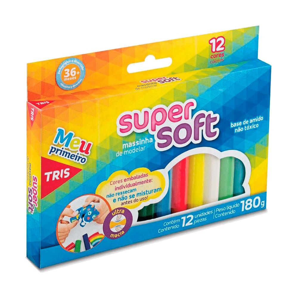 Massinha de Modelar Super Soft 180gr 12 Cores Tris