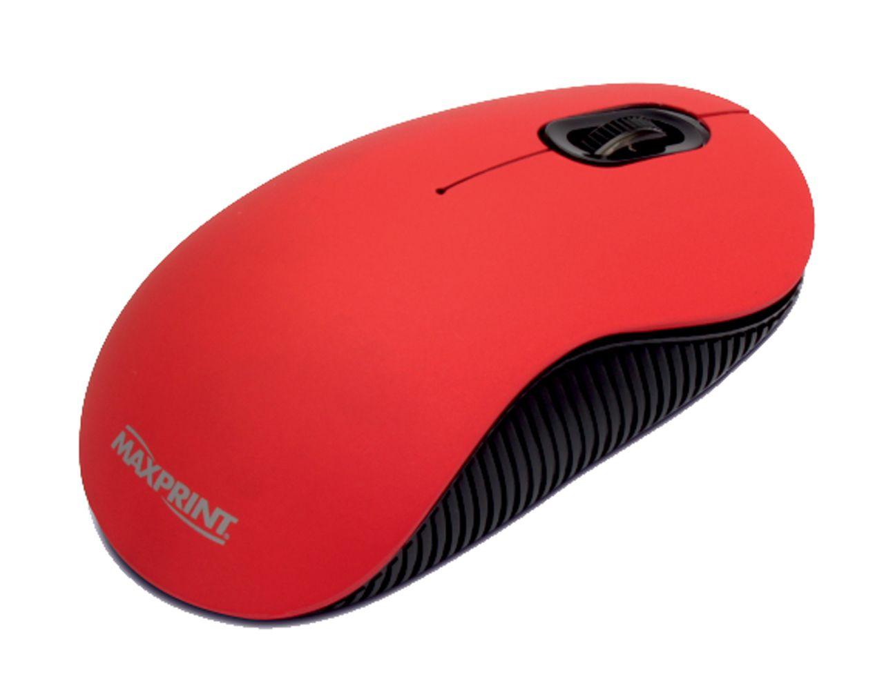 Mouse Óptico USB Emborrachado Maxprint Vermelho 1000 DPI