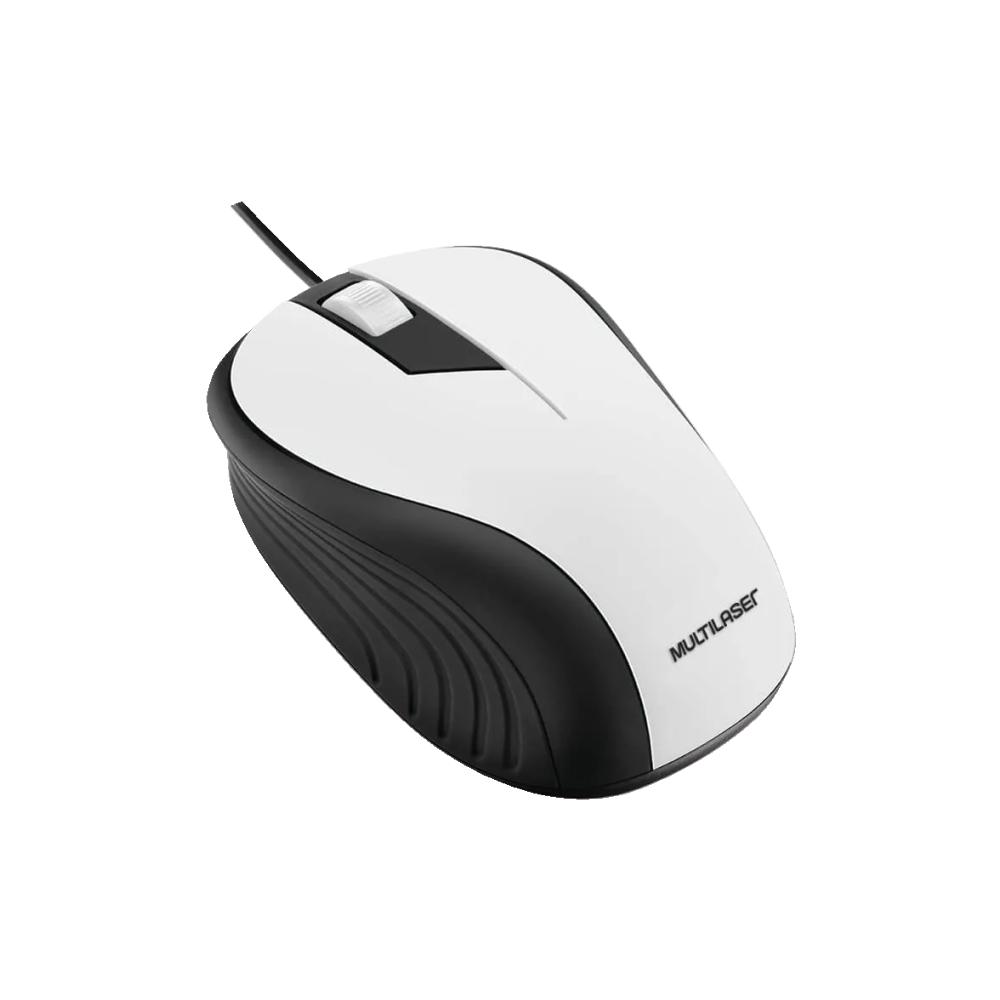 Mouse Ótico Emborrachado Preto e Branco Multilaser