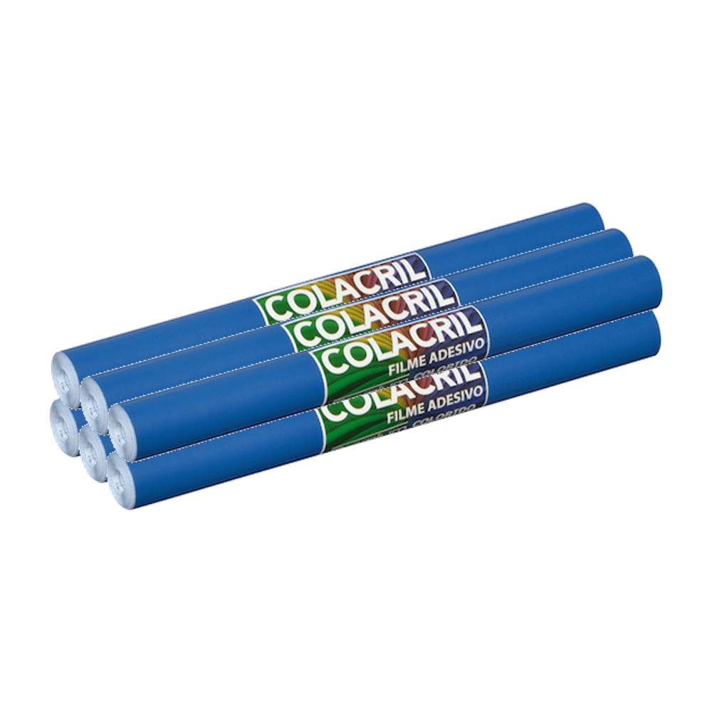 Papel Contact Azul Escuro 45cm x 10m Colacril 6 Unidades