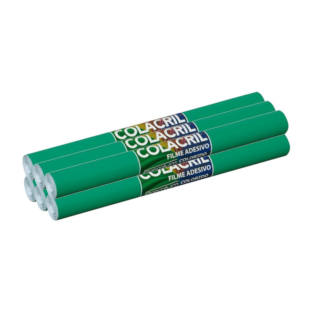 Papel Contact Verde Escuro 45cm x 10m Colacril 6 Unidades