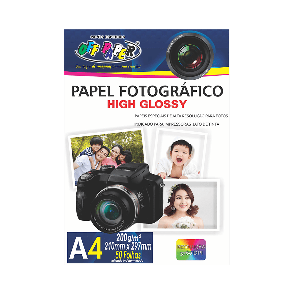 Papel Fotográfico High Glossy A4 200gr 50 folhas Off Paper