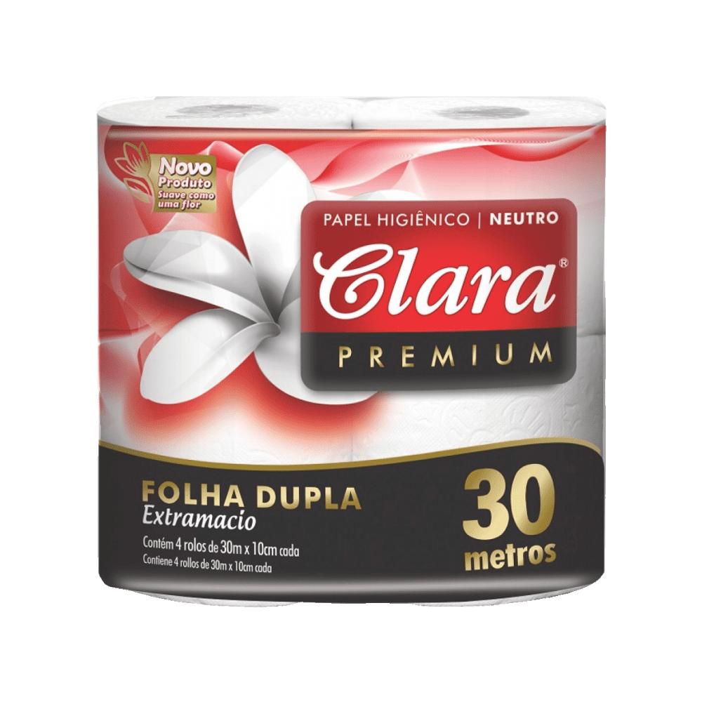 Papel Higiênico Folha Dupla 30m com 4 Rolos Clara Premium