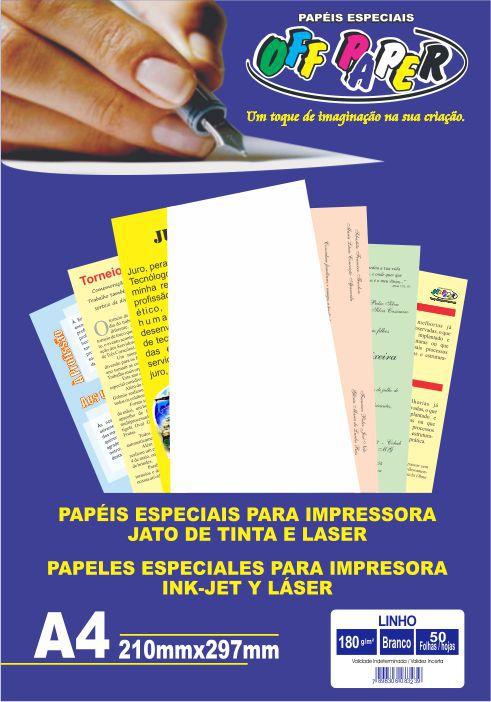 Papel Linho A4 Branco 180g C/ 50 Folhas Off Paper