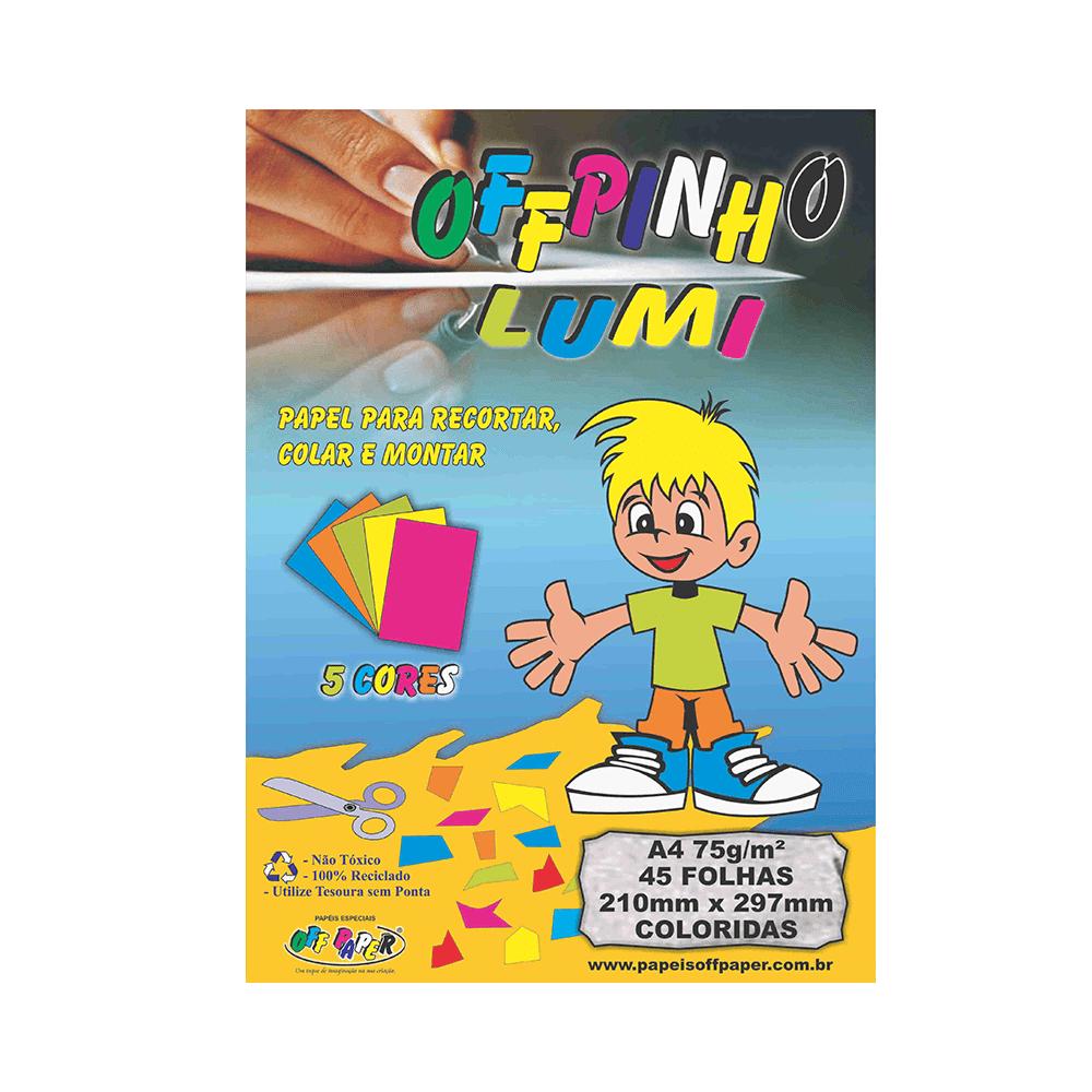 Papel Offpinho Lumi A4 5 cores 75gr 45 folhas Off Paper